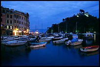 Harbor and San Giorgio castle at dusk, Portofino. Liguria, Italy ( color)