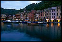 Harbor and hills at dusk, Portofino. Liguria, Italy
