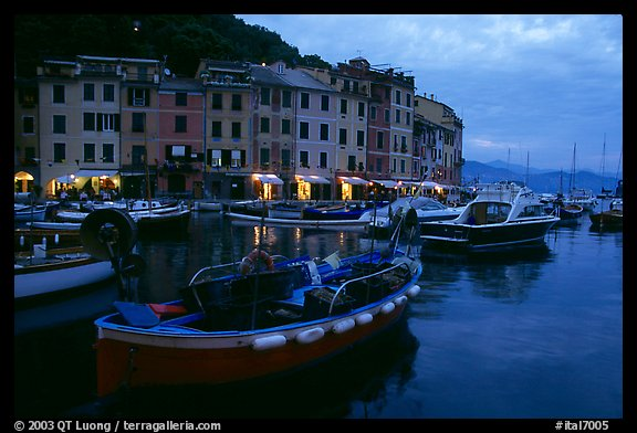 Old harbor at dusk, Portofino. Liguria, Italy (color)