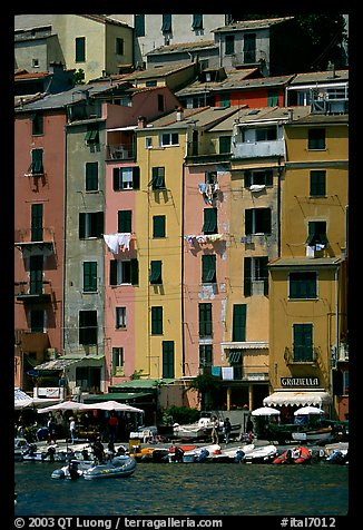 Pastel-colored houses and harbor, Porto Venere. Liguria, Italy (color)