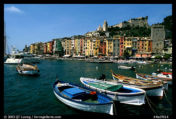 Boats village, and Harbor, Porto Venere. Liguria, Italy (color)