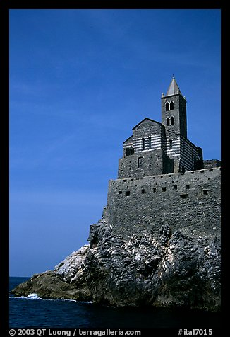 Chiesa di San Pietro (1277) in Genoese Gothic fashion with black and white bands of marble, Porto Venere. Liguria, Italy (color)