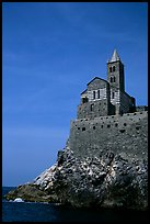 Chiesa di San Pietro (1277) in Genoese Gothic fashion with black and white bands of marble, Porto Venere. Liguria, Italy