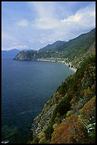 Coast along the Via dell'Amore (Lover's Lane), looking north towards Corniglia. Cinque Terre, Liguria, Italy (color)