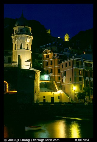 Churches illuminated at night, Vernazza. Cinque Terre, Liguria, Italy (color)