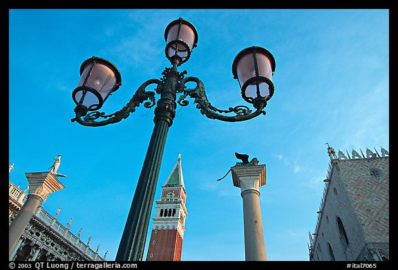 Lamps, Campanile, column with Lion, Piazza San Marco (Square Saint Mark), early morning. Venice, Veneto, Italy (color)