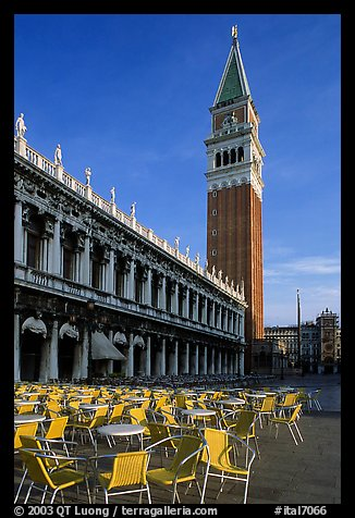 Campanile, Zecca, and empty chairs, Piazza San Marco (Square Saint Mark), early morning. Venice, Veneto, Italy (color)