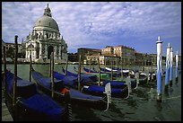 Gondolas, Grand Canal, Santa Maria della Salute church, morning. Venice, Veneto, Italy