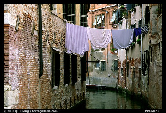 Clothelines and canal in a popular quarter, Castello. Venice, Veneto, Italy (color)