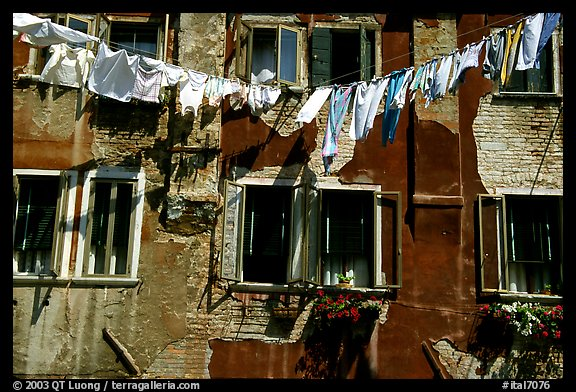 Hanging Laundry and walls, Castello. Venice, Veneto, Italy (color)