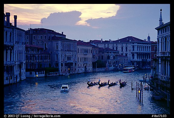 Gondolas, Grand Canal, from the Academy Bridge,  sunset. Venice, Veneto, Italy (color)