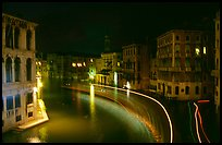 Light trails on the Grand Canal at night near the Rialto Bridge. Venice, Veneto, Italy ( color)