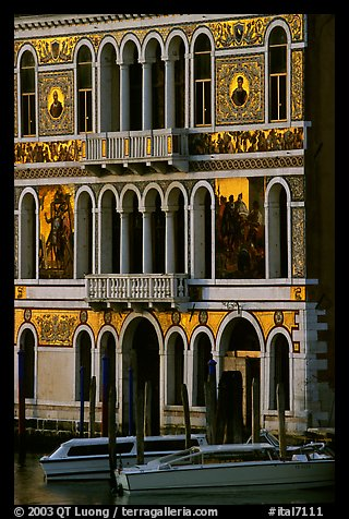 Beautiful colored marbles on facade of Palazzo Dorio (1487), the Grand Canal. Venice, Veneto, Italy (color)