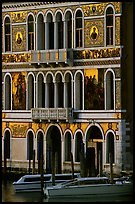 Beautiful colored marbles on facade of Palazzo Dorio (1487), the Grand Canal. Venice, Veneto, Italy ( color)
