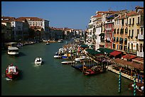 Grand Canal near Rialto Bridge. Venice, Veneto, Italy