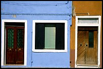 Doors, window, multicolored houses, Burano. Venice, Veneto, Italy