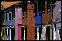 Facades of brightly painted houses, Burano. Venice, Veneto, Italy ( color)