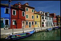 Canal bordered by colorfully painted houses, Burano. Venice, Veneto, Italy ( color)