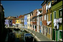 Canal lined with multihued houses, Burano. Venice, Veneto, Italy ( color)