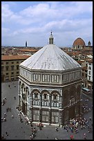 Baptistry seen from Campanile. Florence, Tuscany, Italy (color)