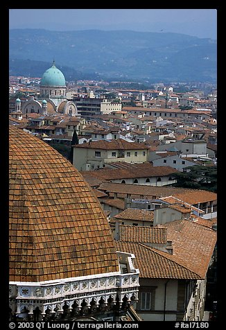 The city, with Dome by Brunelleschi in the foreground. Florence, Tuscany, Italy (color)