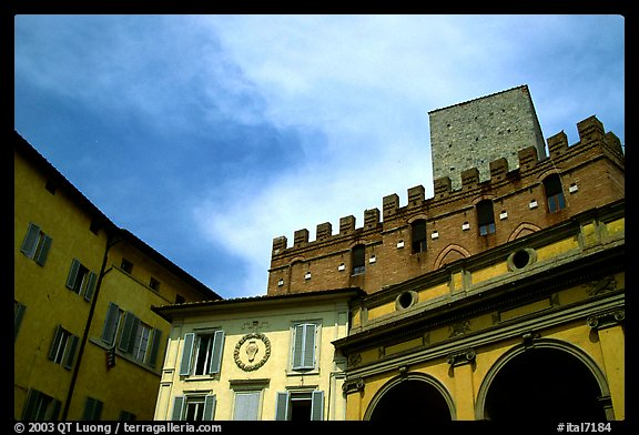 Mix of buildings of different styles. Siena, Tuscany, Italy (color)