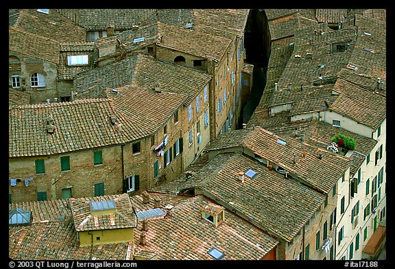 Rooftops seen from Torre del Mangia. Siena, Tuscany, Italy (color)