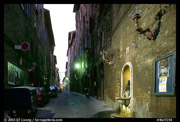 Street and fountain at dawn. Siena, Tuscany, Italy (color)