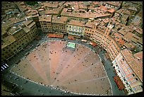 The square paving divided into nine sectors, representing members of the Coucil of Nine.. Siena, Tuscany, Italy