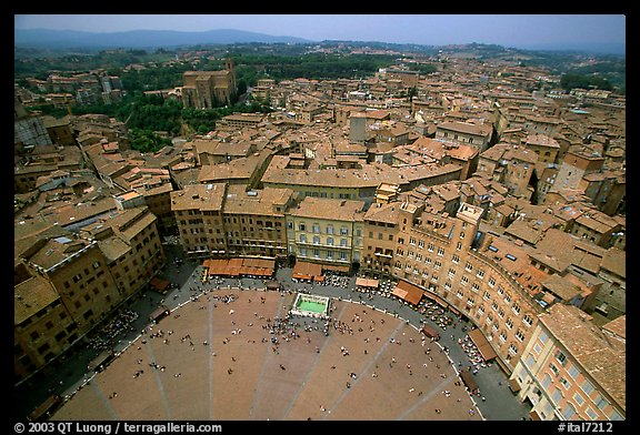 Piazza Del Campo and houses seen from Torre del Mangia. Siena, Tuscany, Italy (color)