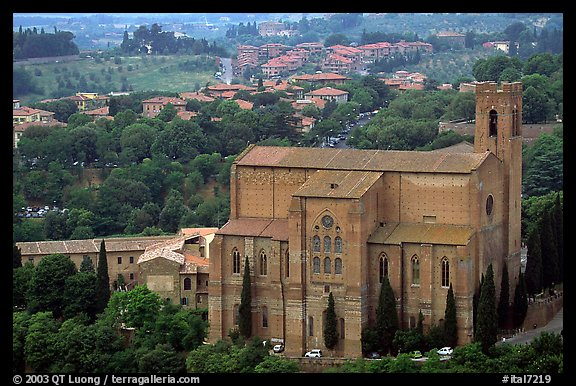 Church of San Domenico seen from Torre del Mangia. Siena, Tuscany, Italy (color)