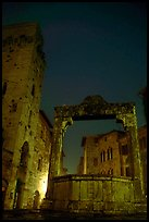 Well on Piazza della Cisterna at night. San Gimignano, Tuscany, Italy ( color)