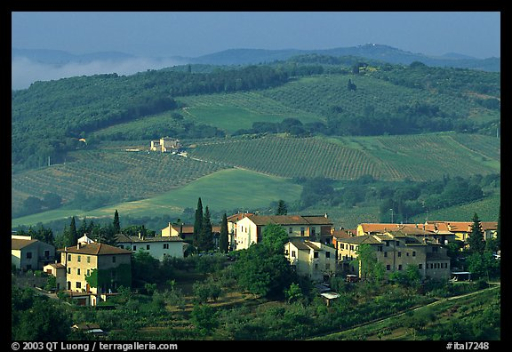 Countryside around the town. San Gimignano, Tuscany, Italy (color)