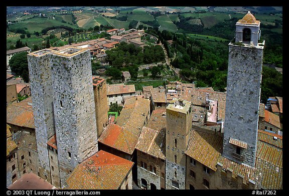 Towers seen from Torre Grossa. San Gimignano, Tuscany, Italy (color)