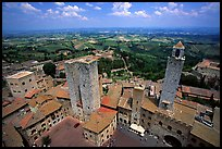 Plazza and towers  seen from Torre Grossa. San Gimignano, Tuscany, Italy (color)