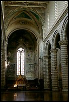 Interior and main nave of Cathedral (Duomo). Orvieto, Umbria ( color)