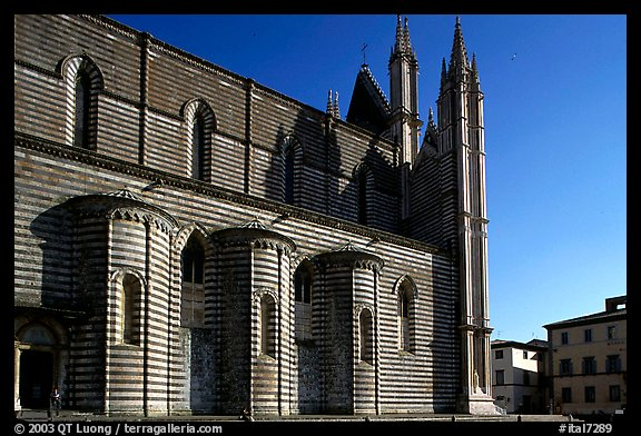 Side view of the Duomo. Orvieto, Umbria (color)
