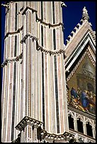Facade detail of the Cathedral (Duomo). Orvieto, Umbria ( color)