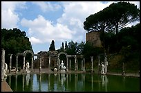 Antique statues along the Canopus, Villa Adriana. Tivoli, Lazio, Italy