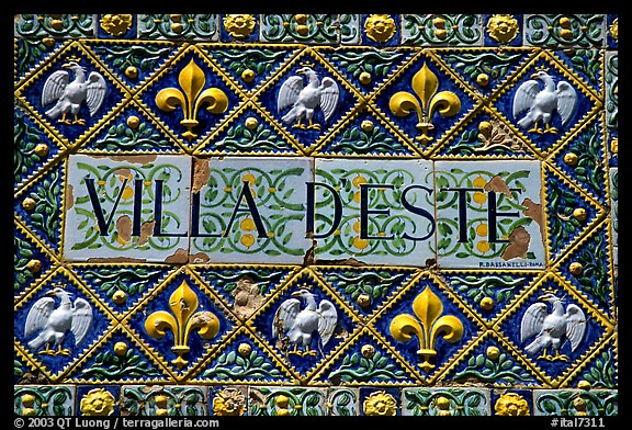 Ceramic sign at the entrance of Villa d'Este. Tivoli, Lazio, Italy (color)