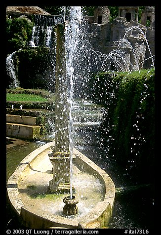 Boat shaped fountain, Villa d'Este. Tivoli, Lazio, Italy (color)