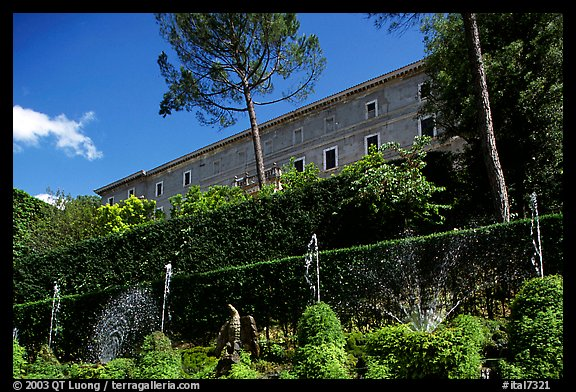 The Villa d'Este seen from the lower terraces of the garden. Tivoli, Lazio, Italy (color)