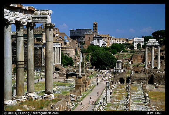 Roman Forum and Colosseum. Rome, Lazio, Italy (color)