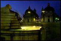 Fountain in Piazza Del Popolo at night. Rome, Lazio, Italy