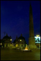 Obelisk in Piazza Del Popolo at night. Rome, Lazio, Italy ( color)