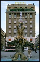 Tritone Fountain and hotel Bernini. Rome, Lazio, Italy (color)