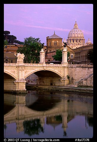 Ponte Sant'Angelo and Basilica San Pietro, sunrise. Vatican City (color)