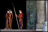 Swiss guards on sentry duty. Vatican City (color)