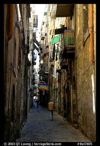 Narrow side street in Spaccanapoli. Naples, Campania, Italy (color)