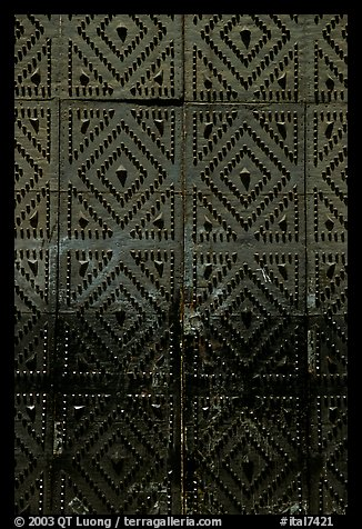 Detail of the door of church Gesu Nuovo. Naples, Campania, Italy (color)